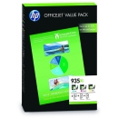 PACK 3 Cartuchos HP 935XL + Papel A4 Original ALTA CAPACIDAD F6U78AE