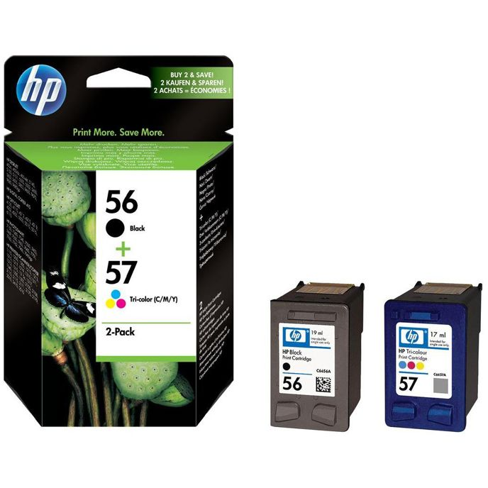 PACK HP 56 + 57 Original Negro + Color ALTA Capacidad C6656A C6657A SA342AE