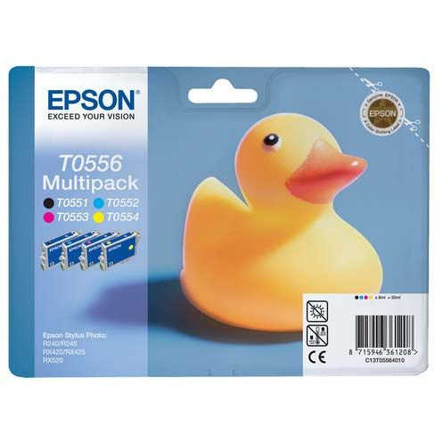PACK 4 Colores Epson T0556. CMYK Original Pack C13T055640 RX420 RX425 RX520